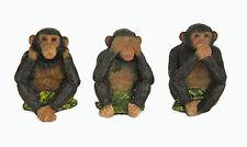 Three Wise Monkeys See No, Hear No, Speak No Evil Statue Figurine Set