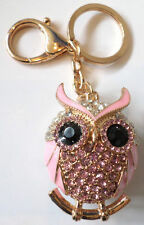 Rhinestone Bling Cute Key Chain Fob Phone Purse Charm Wise Ole Owl