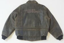Harley Davidson Men Billings Distressed Embroidered Brown Leather Jacket M Rare