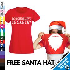 Ladies Pull Up Santa Beard Christmas Tshirt & Hat - Funny Outfit Party T Shirt