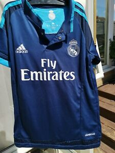 "Adidas Fly Emirates Kids Shirt Ronaldo No 7  Blue Climacool VGC size 22"" Chest"