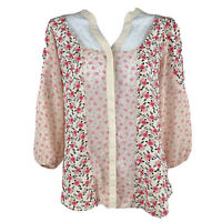 LC Lauren Conrad Womens Pink Sheer Lace Floral Blouse Size XS 3/4 Balloon Sleeve