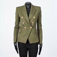BALMAIN 2450$ Double Breasted Blazer In Olive Grain De Poudre Wool