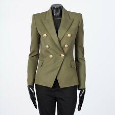 BALMAIN 2450$ Double Breasted Blazer In Olive Grain De Poudre Wool FR34