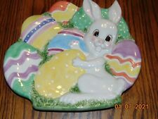 """Fitz and Floyd Plate 9"""" Gathering Eggs Canape Easter Bunny Plate"""