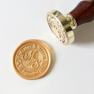 Personalized Wax Seal Stamp with Name, Initials and Date