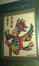 "Framed WHIMSICAL BIRD Drawing SALLY STEVENS Original  8"" X 10"" Signed NATURE"