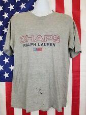 Vintage Chaps Ralph Lauren Men's T-Shirt Size Medium Gray with Flag