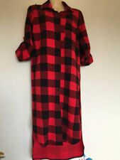 Checked Long Sleeve Dresses for Women with Buttons