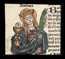 santino xilografia 1493 S.BARBARA V.M. dip. a mano