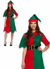 Womens Elf Fancy Dress Costume Santas Little Helper Christmas Xmas Party Green