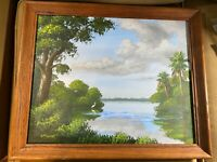 "Douglas E Moore 2006 ""St Lucie River"" Acrylic Painting - Signed And Framed"