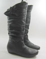 "new ladies Black 1.5""Hidden Wedge Round Toe Bow Sexy Knee Boots Size  10"