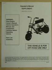 Manco Mini-Bike Model 580-01 Assembly Operator Parts List Manual Supplement