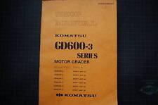 KOMATSU GD600 GD650 GD605 GD655 GRADER Repair Service Manual Book overhaul 1987