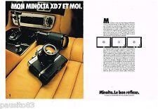 PUBLICITE ADVERTISING 105  1979  MINOLTA appareil photo  XD7  ( 2p)