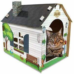 ASPCA Cat Scratch & Play Cardboard House w/Bonus Catnip Included