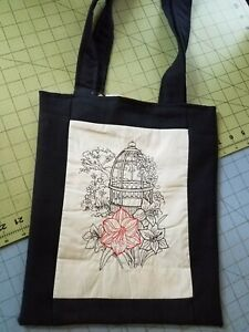 Tote Bag Embroidered handmade Shopping bag Reversible Birdcage with pink flower