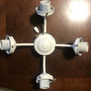 Harbor Breeze White Ceiling Fan Light 4 Head Lighting Fixture Pull Replacement