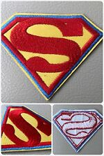 Superman Superhero R/Y Embroider Blue Trim Iron/ Sew-On DIY Morale Patch x2