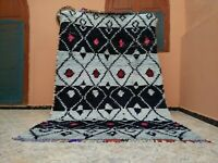 "Handmade Vintage Moroccan Carpet,Blue Berber Azilal Moroccan Rug,5'38""x8'36"" ft"
