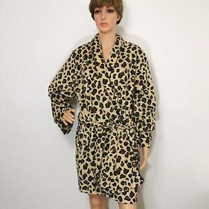 Frederick's of Hollywood Women's Robe Sz S/M Leopard Cheetah Animal Print Fleece