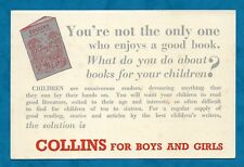 C1950s ADVERTISING & ORDER CARD FOR COLLINS MAGAZINE FOR BOYS AND GIRLS