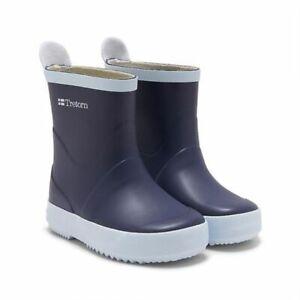 Tretorn Unisex Wings Kids Navy Blue Rubber Rain Boots Size 1 NIB $50