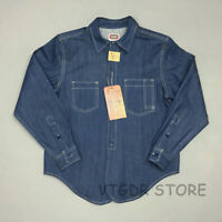 Bob Dong 1930s Selvedge Work Shirt Vintage Men's Pocket Jean Denim Casual Shirts