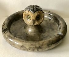 1950s Italian Mid Century Modern Hand Carved Marble OWL Head Ashtray Tray Server