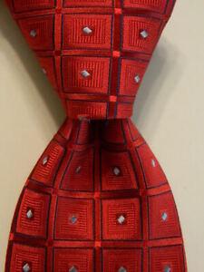 NORDSTROM Boy's 100% Silk Necktie Designer Geometric Red/Blue EUC