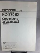 Rotel Rc-870Bx Amplifier Owners Manual