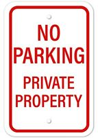 "No Parking Private Property Sign Aluminum Metal No Parking Will Be Towed 12""x18"""