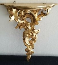 "Vintage Gold Gilt wood Carved Wall Shelf ITALY Florentine ROCOCO LARGE 11""TALL"