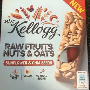48 x 38g Kellog's Raw Fruits Nuts and Oats Bars Vegan Approved Gluten Free