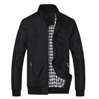 New Men's Casual Zip Jacket Coat Slim Fit Bomber Windproof Outerwear Plus Size