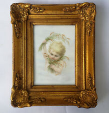 An Antique Porcelain Plaque with Cherub