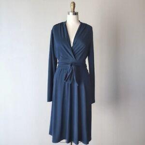 CAbi ' Chelsea ' MEDIUM Long Sleeve Dark Teal Faux Wrap Knit Dress ~ EUC ~