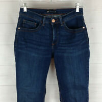 Lee Easy Fit womens size 6P stretch blue dark wash mid rise straight crop jeans