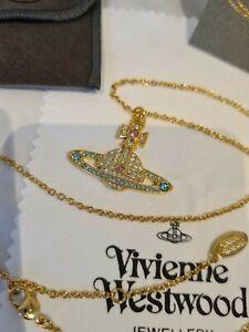 Vivienne Westwood Gold Bas Relief Kika Crystal Orb Pendant Necklace