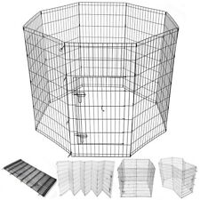 48in Pet Dog Playpen Exercise Fence Folding Cage Kennel 8 Panel Outdoor Indoor