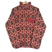 Patagonia Womens Synchilla Snap T Fleece Pullover Sweater Tribal Aztec Pink M