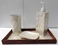 Set bagno in madreperla bianco vassoio dispenser porta sapone porta spazzolino