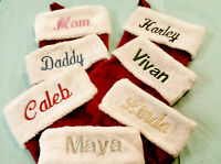 EMBROIDERED, PERSONALIZED MONOGRAMED RED & WHITE  PLUSH CHRISTMAS STOCKINGS