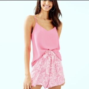 $78 Lilly Pulitzer Mylee Tie-Front Short Havana Pink Clawdia Neon NWT Size 0