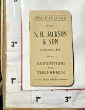 "1800/1900s Carlisle PA S H Jackson Son Advertising Farmer Notepad ""Both Phones"""