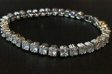 18K White Gold Tennis Bracelet made w/ Authentic Swarovski Crystal Clear Stone