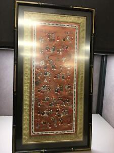 Chinese Silk Embroidered 100 Children Tapestry Framed Art Orange Background