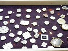 Mixed Lot of 69 Watch Movements, Dials, Hands, Crowns and Crystals