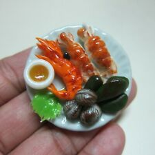 1:6 Dollhouse Miniatures Seafood Food on Plate Barbie